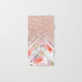 Modern rose gold glitter ombre floral watercolor white marble triangles Hand & Bath Towel