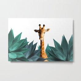 Giraffe Wild Animals - Agave Leaves Metal Print
