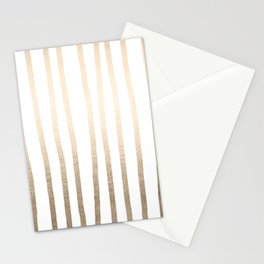 Simply Drawn Vertical Stripes in White Gold Sands Stationery Cards