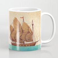 vintage Mugs featuring Winged Odyssey by Terry Fan