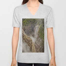 Beautiful waterfall in the rainforest Unisex V-Neck