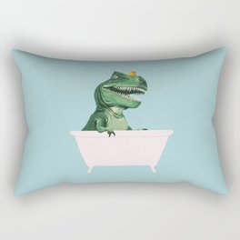 Playful T-Rex in Bathtub in Green Rectangular Pillow