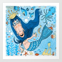 Quirky Mermaid with Sea Friends, Blue version Art Print