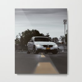 White Sports Car at the High School (2 of 2) Metal Print