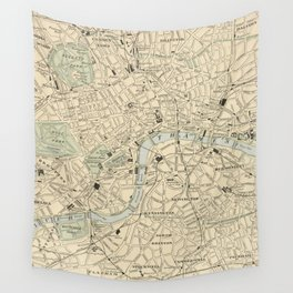 Vintage Map of London England (1901) Wall Tapestry