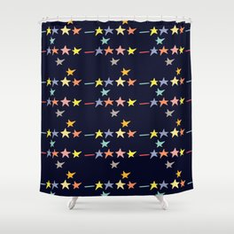 Colorful falling stars by night pattern Shower Curtain