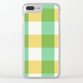 mint yellow plaid Clear iPhone Case