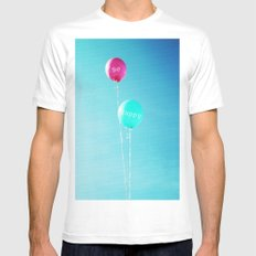 Happy Balloons White MEDIUM Mens Fitted Tee