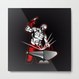 illustration of a blacksmith Metal Print