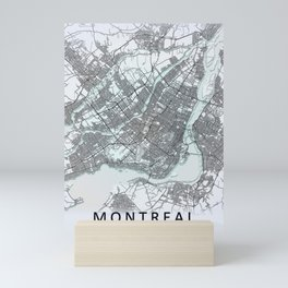 Montreal Canada Black and White City Map Mini Art Print
