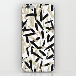 Black and White Feather Repeating Pattern iPhone Skin