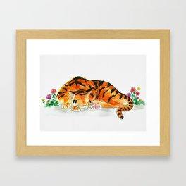 Sleeping tiger watercolor Framed Art Print