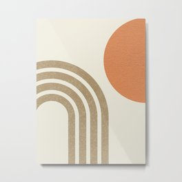 Mid-Century Modern - Orange Sun & Rainbow Metal Print