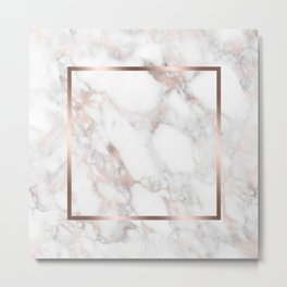 Luxury Rose-gold Faux Marble Metal Print