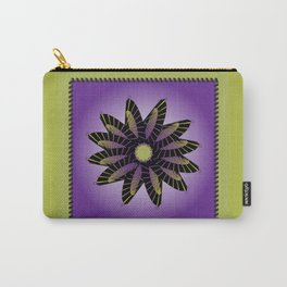 Purple Stitched Flower Carry-All Pouch