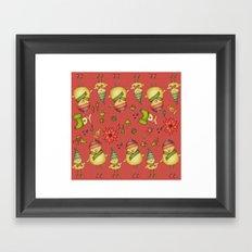 Two Chicks Pattern ~ Red Framed Art Print