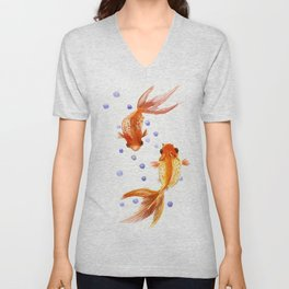 Goldfish, two fish, Koi Asian Style watercolor art, feng shui Unisex V-Neck