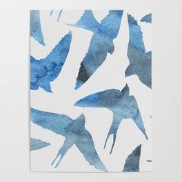 Watercolor birds - sapphire ink Poster