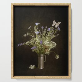 Still life with wildflowers and butterflies Serving Tray