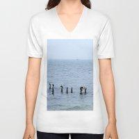 cape cod V-neck T-shirts featuring Gull's Perch, Cape Cod by JezRebelle