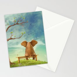 Elephant on a bench in the sky Stationery Cards