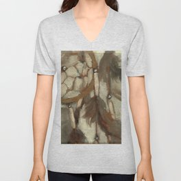 Native American Dreamcatcher Spirituality Still Life Impressionist Painting in Gray and Tan Unisex V-Neck