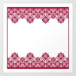 Retro .Vintage . Red lace on a white background . Art Print