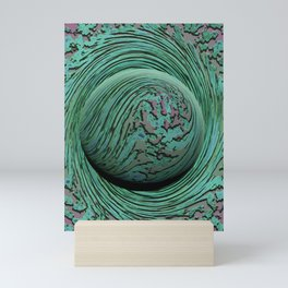 Green Singularity - Abstract Swirling Globe Mini Art Print