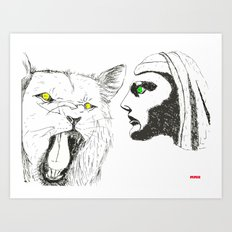 Lion and Man Art Print