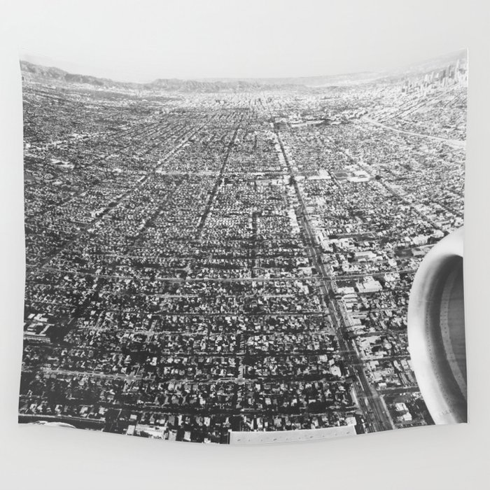 Los angeles california black white wall tapestry