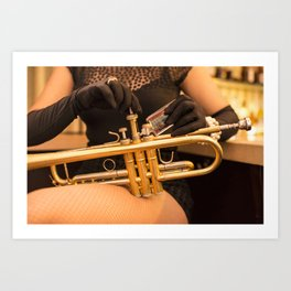 Trumpet and Fishnets Art Print