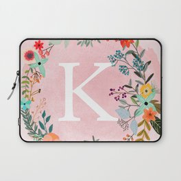 Flower Wreath with Personalized Monogram Initial Letter K on Pink Watercolor Paper Texture Artwork Laptop Sleeve