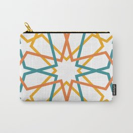 Orange Yellow Turquoise Geometric Tile Pattern Carry-All Pouch