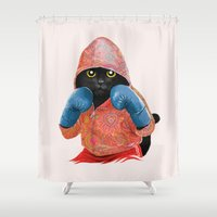 boxing Shower Curtains featuring Boxing Cat 2  by Tummeow
