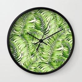 Greenery palm leaves Wall Clock