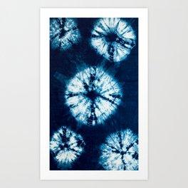 indigo tie dye Art Print