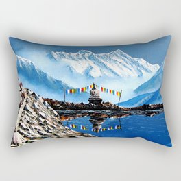 Panoramic View Of Annapurna Mountain Nepal Rectangular Pillow