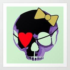 Purple skull heart with bow Art Print