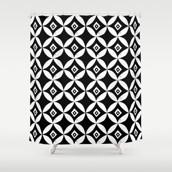 Linocut Minimal Scandinavian Stars Circles Geometric Black And White Pattern Shower Curtain By