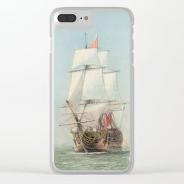 Vintage Ship Art Clear iPhone Case