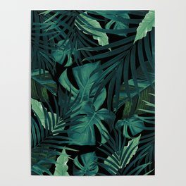 Tropical Jungle Night Leaves Pattern #1 #tropical #decor #art #society6 Poster