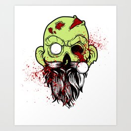 Bearded Zombie Undead with Beard Halloween Party Light Art Print