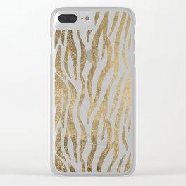Chic faux gold white modern zebra animal print pattern Clear iPhone Case