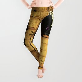 Garden of Life and Death flower and skeleton magical realism portrait painting by Hugo Simberg Leggings