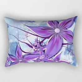 Painted Flowers Fractal Rectangular Pillow