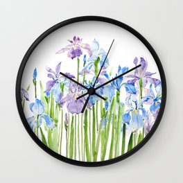 blue and purple iris Wall Clock