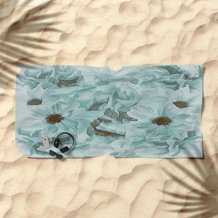 Soft Slate Blue Floral Abstract Beach Towel