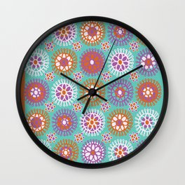 Bright Flower Doodles Wall Clock