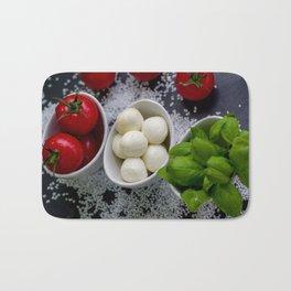 Trio of tomatoes basil fresh mozzarella Bath Mat