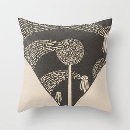 Art Nouveau Dandelion Seeds Throw Pillow
